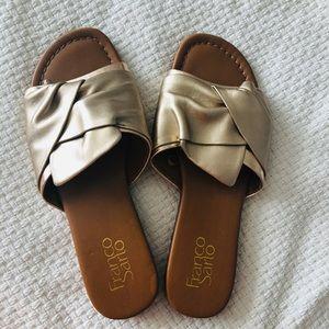 Frank Sarto | Gold slip on sandals